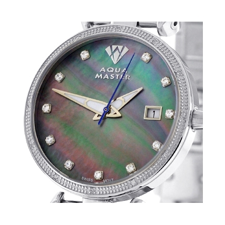 Womens Diamond Watch Aqua Master 0.3 ct Steel Black Dial