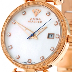 Womens Diamond Watch Aqua Master 0.3 ct Rose Gold