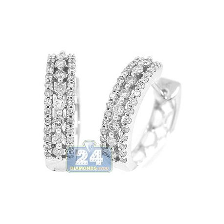 14K White Gold 0.90 ct Diamond Womens Hoop Earrings