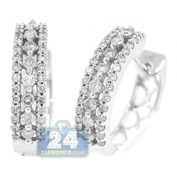 14K White Gold 0.90 ct Diamond Womens Round Hoop Earrings