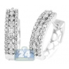 Womens 3 Row Diamond Round Hoop Earrings 14K White Gold 0.90 ct