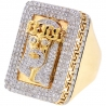 Mens Diamond Jesus Christ Pinky Ring 14K Yellow Gold 4.14 ct