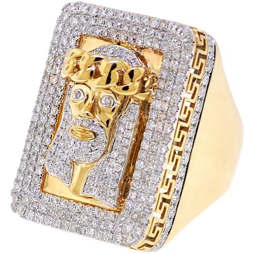 69bda8ea50830 14K Yellow Gold 4.14 ct Diamond Jesus Christ Mens Ring