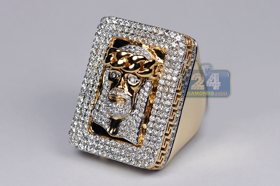 Mens Diamond Jesus Christ Pinky Ring 14k Yellow Gold 4 14 Ct