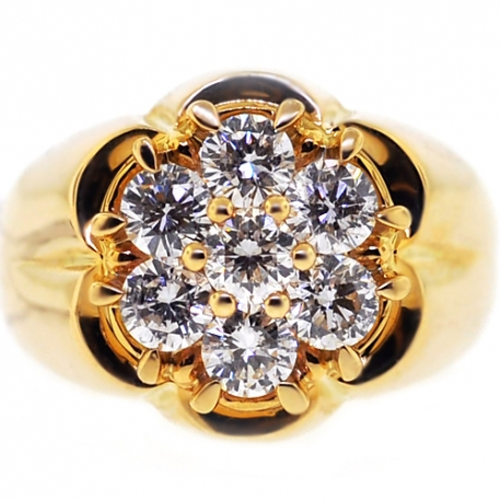 Mens Diamond Cluster Ring Signet 14k Yellow Gold 1 80 Ct