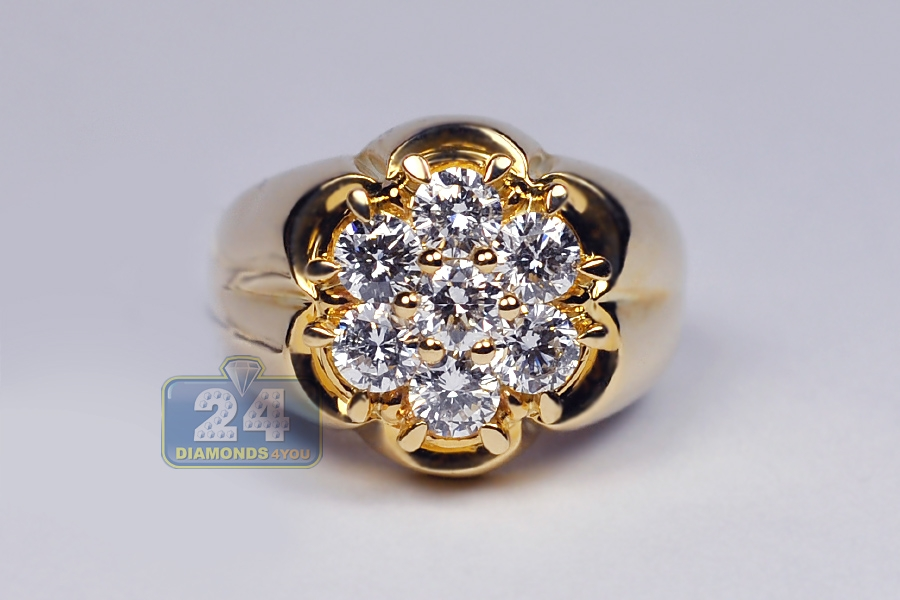 a12cfd16a73e4 Mens Diamond Cluster Ring 14K Yellow Gold 1.80 ct
