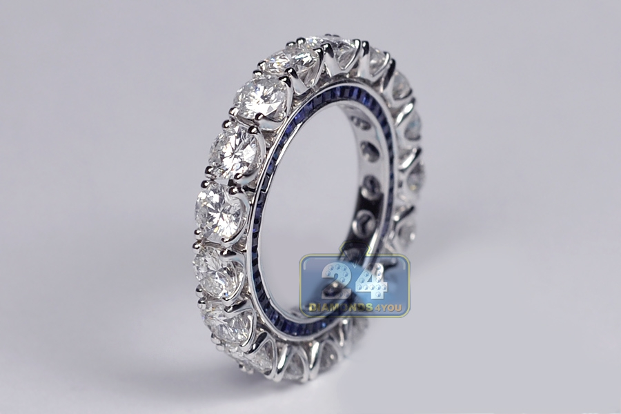 Womens Diamond Blue Sapphire Gemstone Eternity Ring 18K Gold