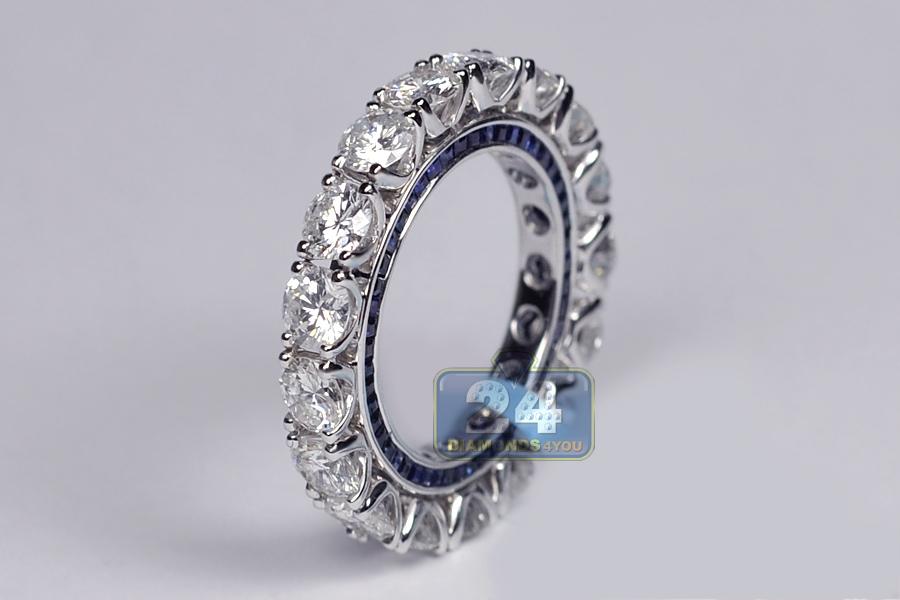 Womens Diamond Blue Sapphire Eternity Band Ring 18K Gold 689ct