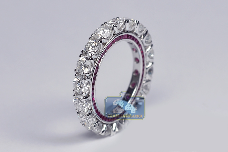 womens diamond ruby gemstone eternity ring 18k white gold. Black Bedroom Furniture Sets. Home Design Ideas