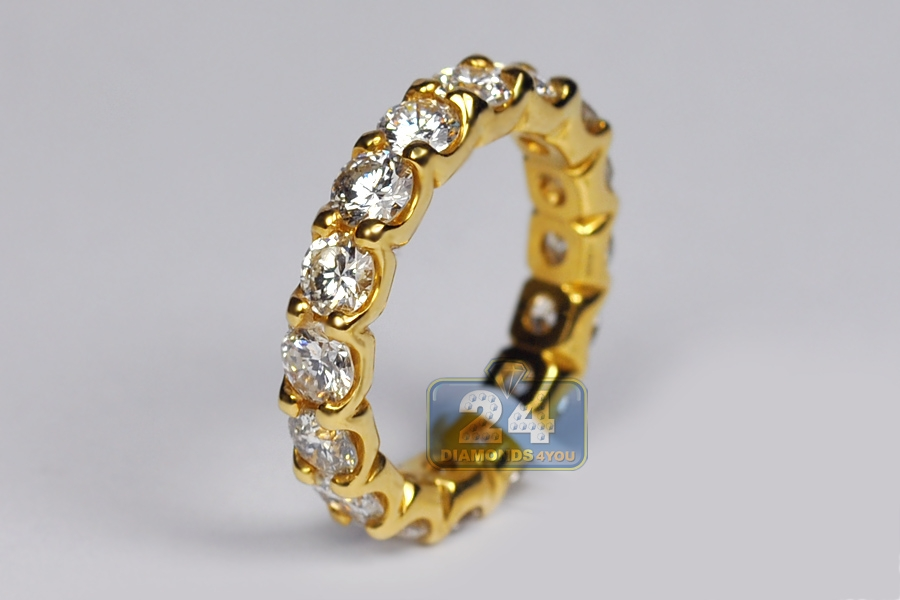... Womens Diamond Wedding Eternity Ring 18K Yellow Gold 4.00 ct ... fa76c3b39