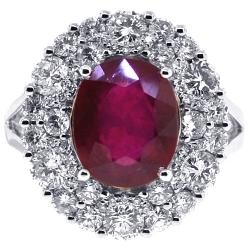 Womens Diamond Ruby Gemstone Ring 18K White Gold 7.22 ct