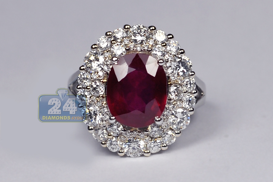 Womens Diamond Ruby Gemstone Halo Ring 18k White Gold 7 22ct