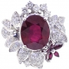 Womens Diamond Ruby Flower Ring 18K White Gold 8.55 ct