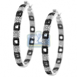 Womens Diamond Pave Zebra Hoop Earrings 14K White Gold 2.80 ct
