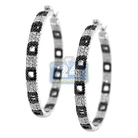 14K White Gold 2.80 ct Diamond Zebra Hoops Womens Earrings