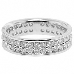 14K White Gold 1.81 ct Round Cut 2 Row Diamond Womens Eternity Ring