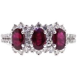 Womens Diamond Ruby 3 Stone Halo Ring 18K White Gold 2.58 ct
