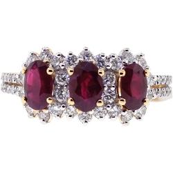 Womens Diamond Ruby 3 Stone Halo Ring 18K Yellow Gold 2.52 ct