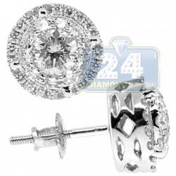 14K White Gold 1.41 ct Diamond Illusion Womens Stud Earrings