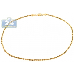 10K Yellow Gold Rope Link Womens Ankle Bracelet 10 Inches