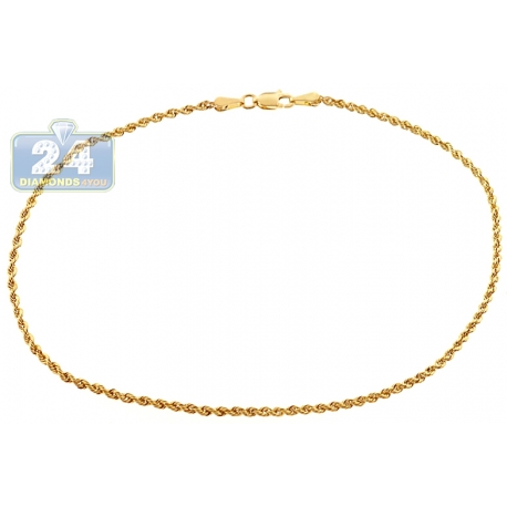 Solid 10K Yellow Gold Rope Link Womens Leg Ankle Bracelet 10""