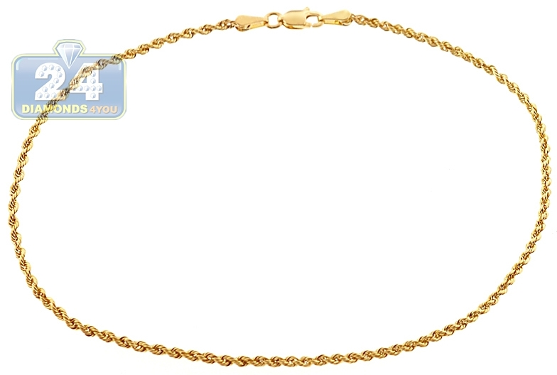 anklet bracelet yellow gold ankle solid link pin chain inch rolo