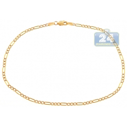 10K Yellow Gold Figaro Diamond Cut Womens Ankle Bracelet 10 Inch