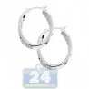 Womens Diamond Openwork Small Oval Hoop Earrings 14K White Gold