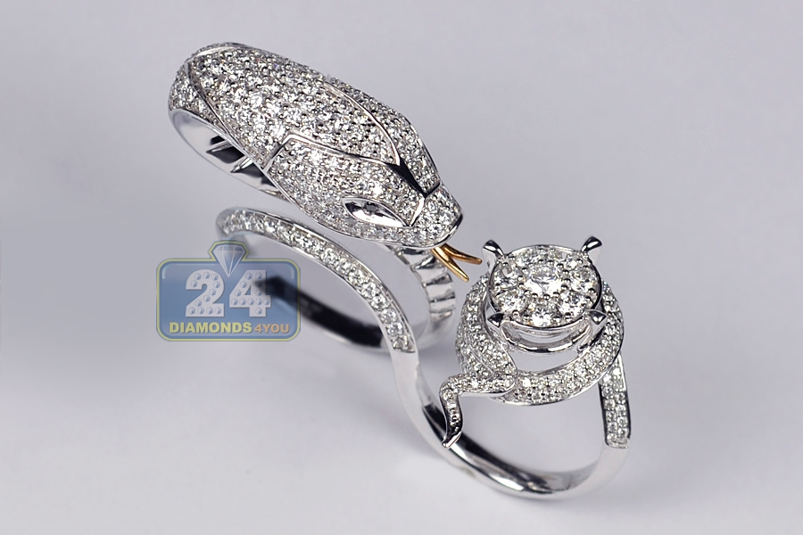 Womens Diamond Snake Double Ring 18k White Gold 4 31 Ct