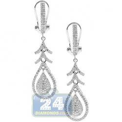 14K White Gold 0.99 ct Diamond Womens Omega Clasp Dangle Earrings