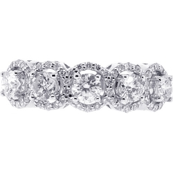 Womens Diamond Halo 5-Stone Ring 18K White Gold 2.00 ct