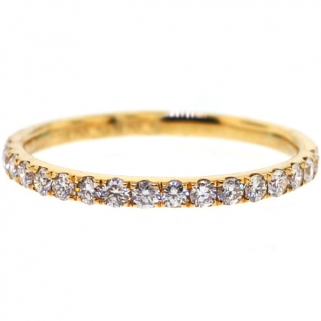 Womens Diamond Wedding Band 18K Yellow Gold 0.35 ct 1.8 mm