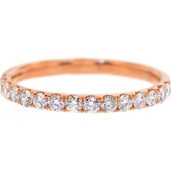 Womens Diamond Wedding Ring 18K Rose Gold 0.46 ct 2 mm