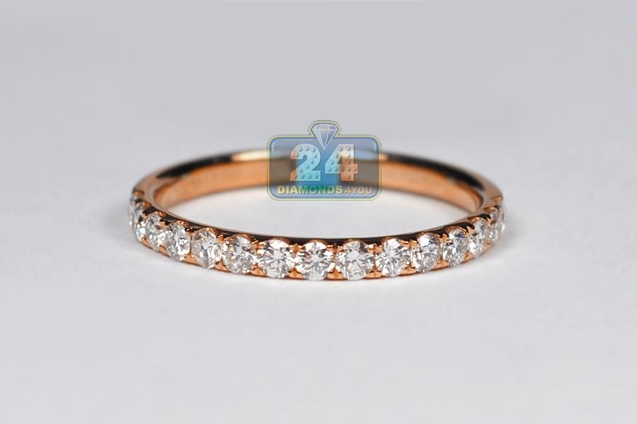 Womens Diamond Wedding Band Ring 18k Rose Gold 0 46 Ct 2 Mm
