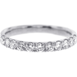 Womens Diamond Wedding Band 18K White Gold 0.58 ct 2.3 mm