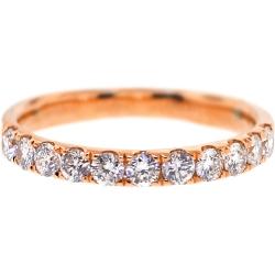 Womens Diamond Wedding Band 18K Rose Gold 0.58 ct 2.3 mm