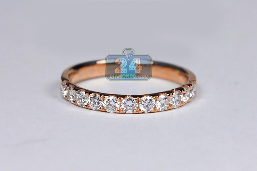 Womens Diamond Wedding Ring Band 18K Rose Gold 058 ct 23 mm