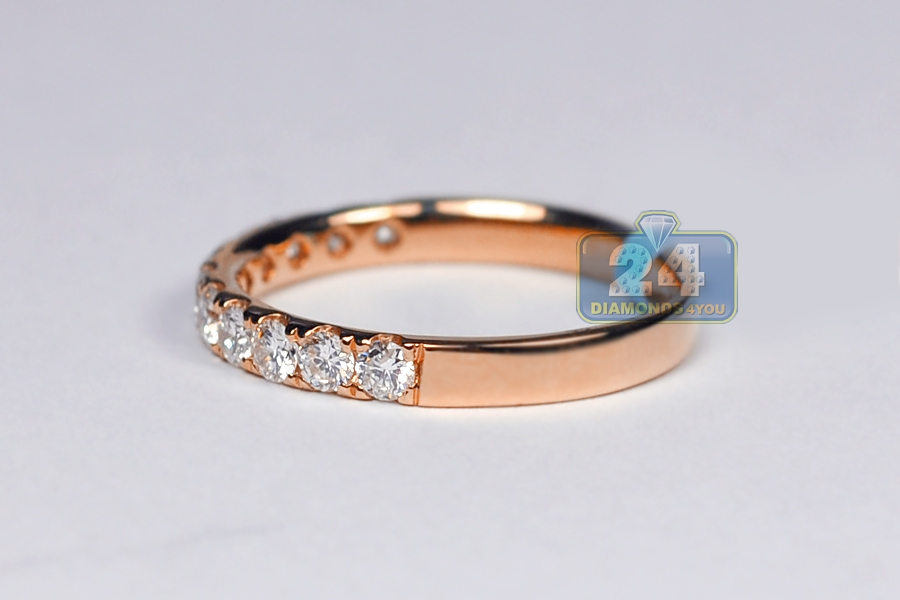 Womens Diamond Wedding Ring Band 18K Rose Gold 058 ct 23 mm
