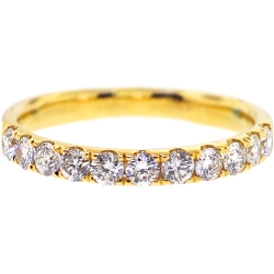 Womens Diamond Wedding Band 18K Yellow Gold 0.58 ct 2.3 mm