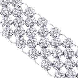 Womens Diamond Cluster Mesh Bracelet 14K White Gold 23.89 ct