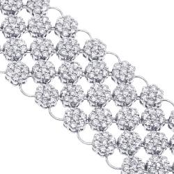 14K White Gold 23.89 ct Diamond Cluster Womens Mesh Bracelet