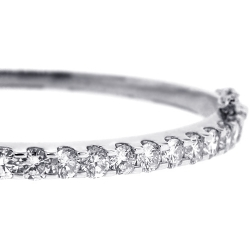 Womens Diamond Oval Bangle Bracelet 14K White Gold 4.18 ct 6.5""
