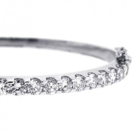 "Womens Diamond Oval Bangle Bracelet 14K White Gold 4.18 ct 6.5"""