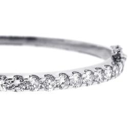 14K White Gold 4.18 ct Diamond Womens Oval Bangle Bracelet