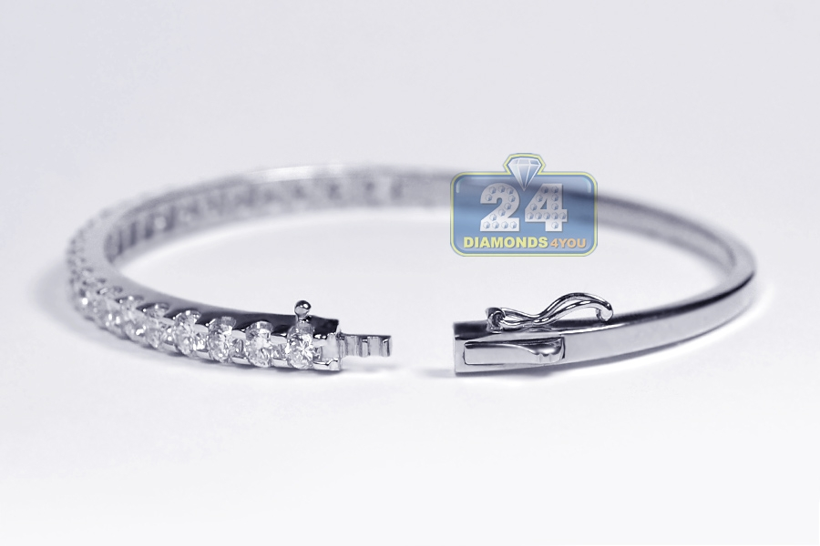 bangles fine white gold hinged bangle bracelet diamond carat