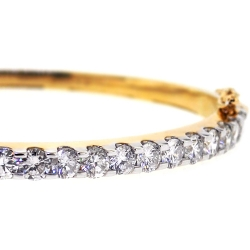 Womens Diamond Oval Bangle Bracelet 14K Yellow Gold 4.24 ct 6.5""