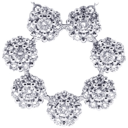 14K White Gold 2.66 ct Diamond Cluster Circle Womens Necklace