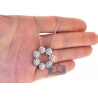 Womens Diamond Cluster Circle Necklace 14K White Gold 2.66 ct