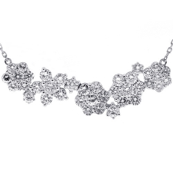 14K White Gold 4.31 ct Diamond Cluster Womens Flower Necklace
