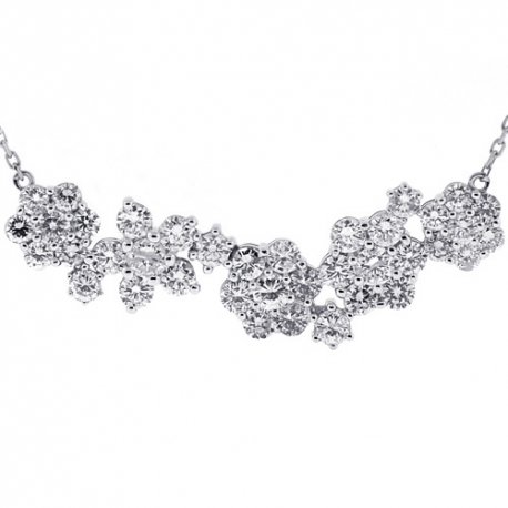Womens Diamond Cluster Flower Necklace 14K White Gold 4.31 ct